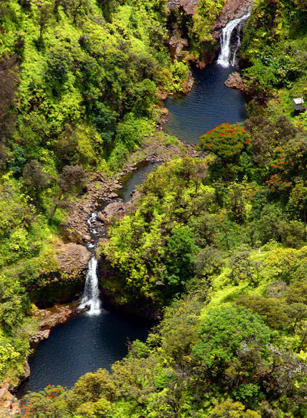 Helicopter view of waterfalls and pools