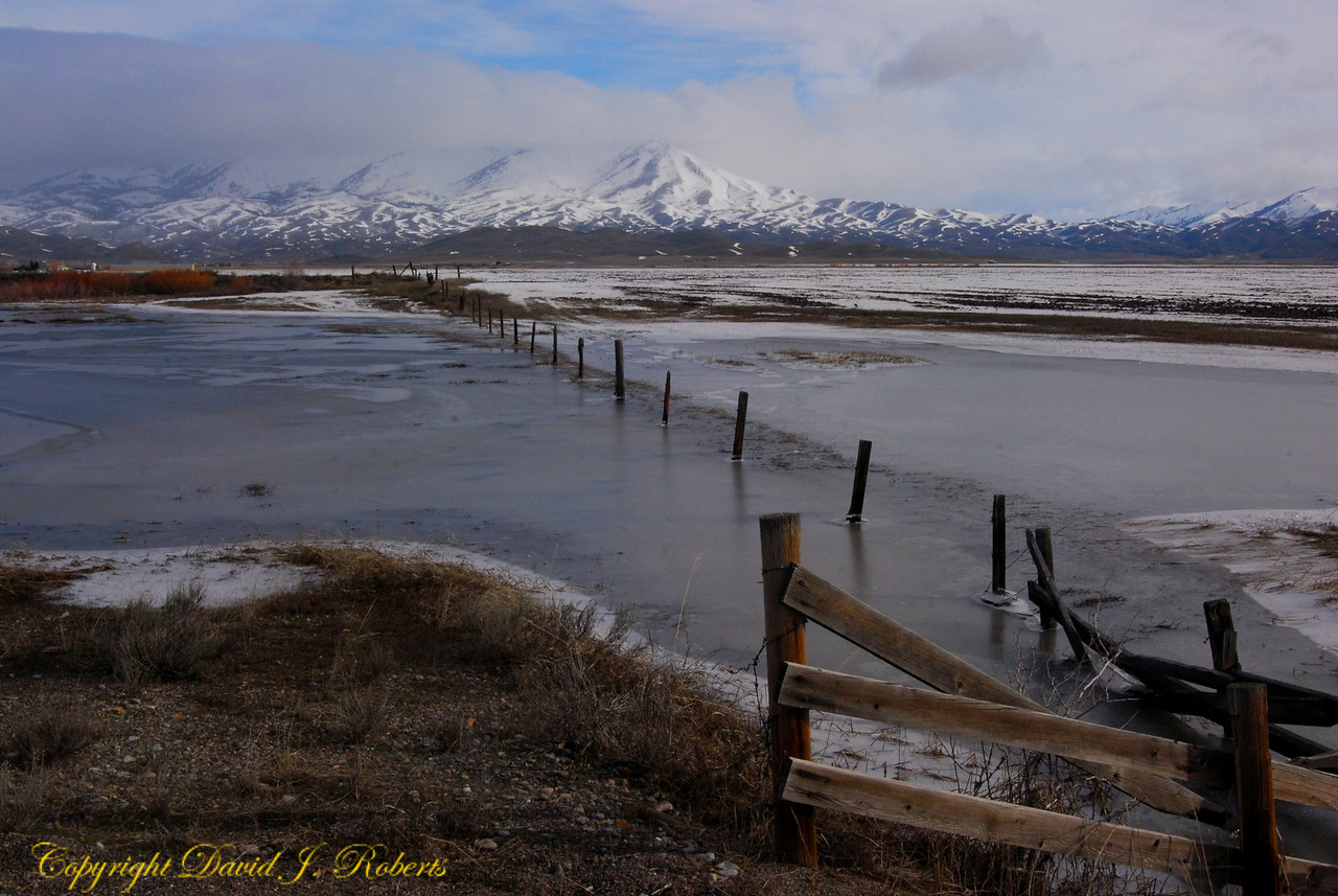 Snow, water, fields and mountains near Fairfield, Idaho