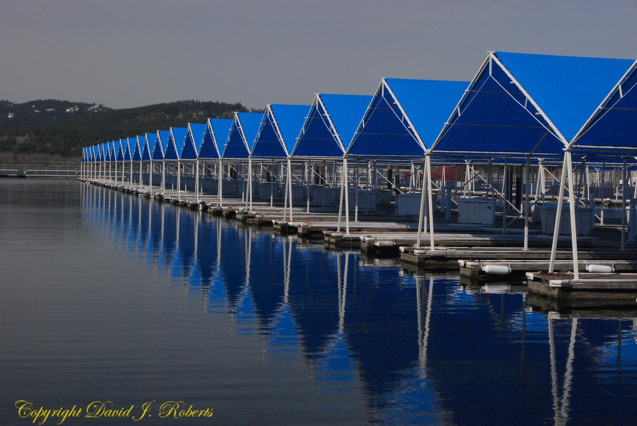Boat houses on Coeur d'Alene Lake, Idaho