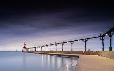 Michigan City Lighthouse and Breakwater Wall