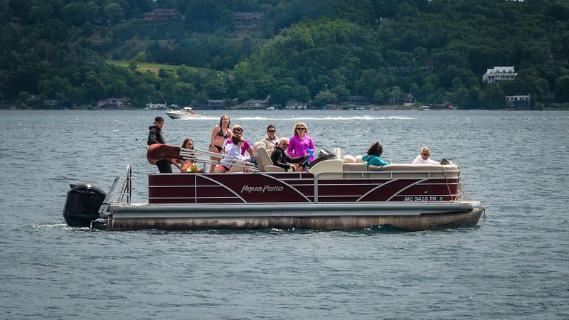 Pontoon Boat on Lake Michigan