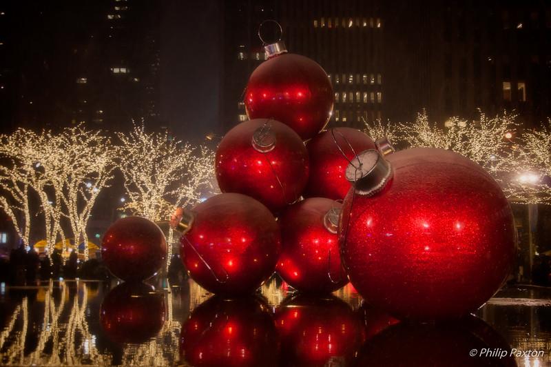 Christmas Balls in a Fountain