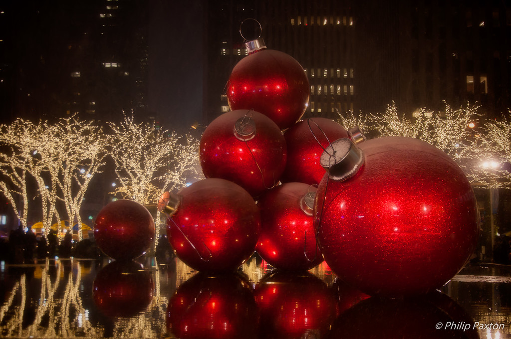 Christmas Balls in a Fountain
