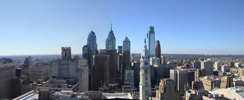 Philadelphia skyline from the top of the Lowe's Hotel