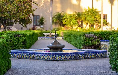 Fountain in Alcazar Garden at Balboa park, San Diego