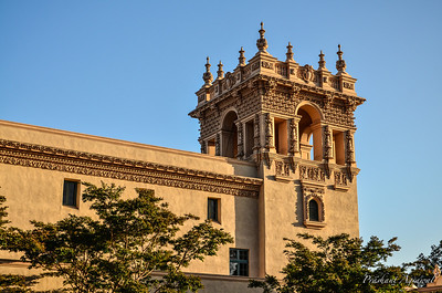 Spanish Architecture based Tower bathed in golden sunlight at Balboa park, San Diego