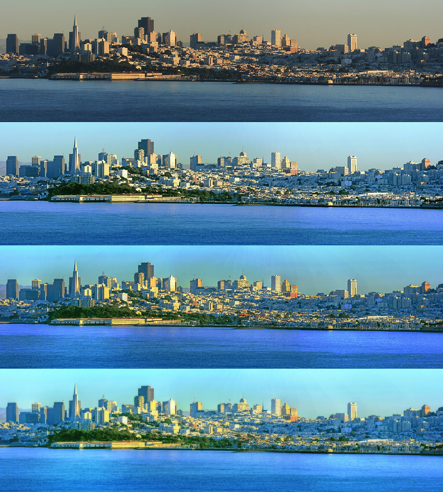 4 versions of panorama San Fransisco