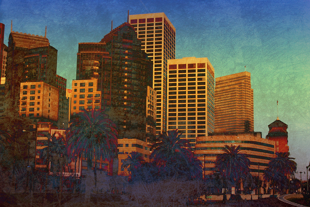 Textured city view