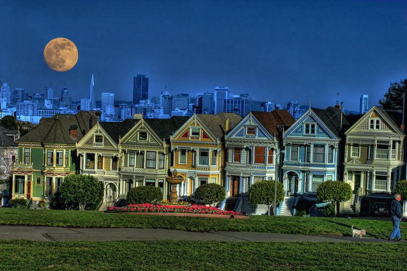 row houses with moon hdr
