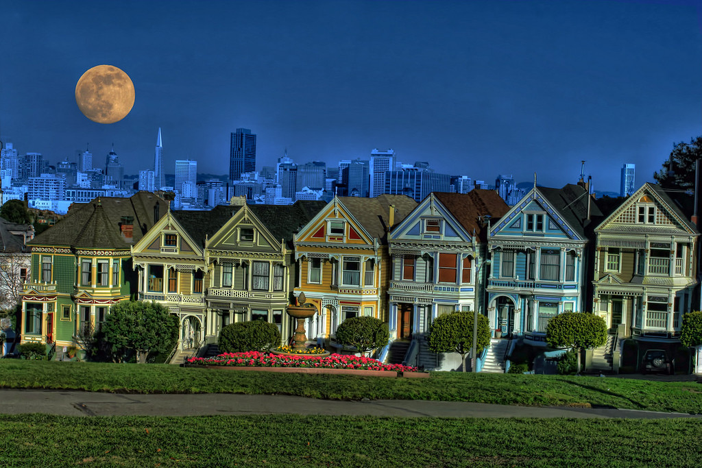 row houses with moon hdrNM