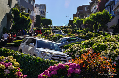 View of Crooked (Lombard) street in San Francisco