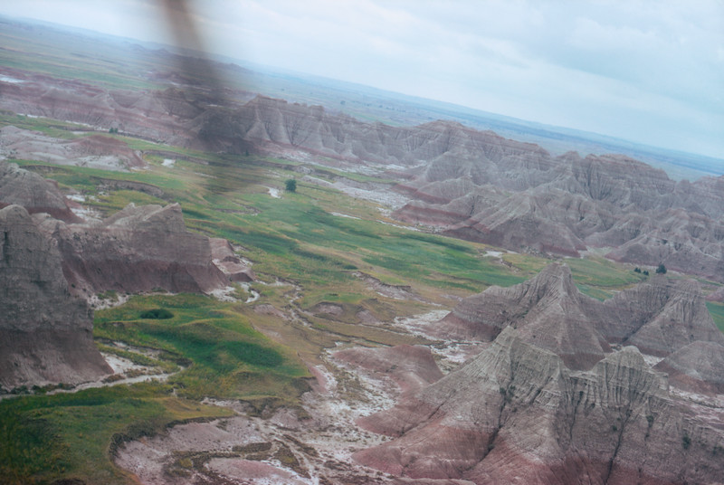 Badlands seen from a Bell 47G-2 Helicopter