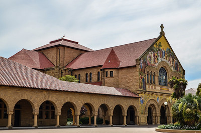 Sideview of the North Facade of the Stanford Memorial Church at Palo Alto in California