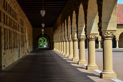Pillared Walkway in Stanford University building in California