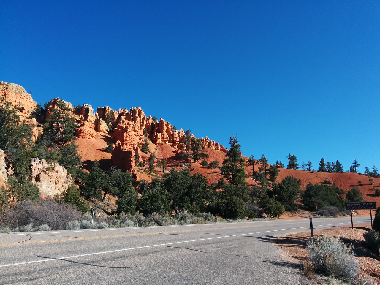 Driving through Red Canyon on the way to Bryce Canyon National Park.