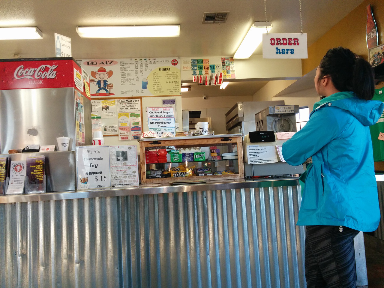 """Big Al's Burger joint -- also known as """"the Junction"""" by locals.  I ordered a buffalo burger and blueberry milkshake.  The milkshake was incredibly thick.  Took me forever to finish."""