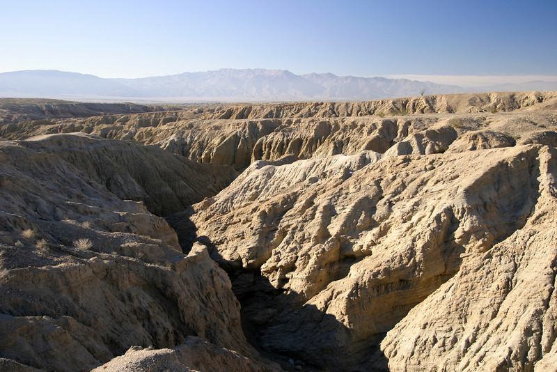 A slot canyon in the Anza-Borrego desert near Borrego Springs as viewed from above.