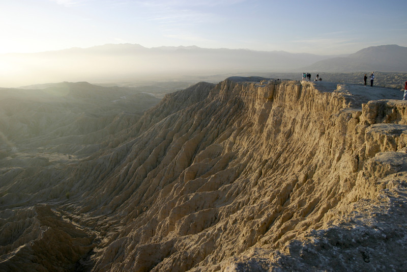 Looking towards the sunset over a deep canyon in the Borrego badlands from the top of Font's Point