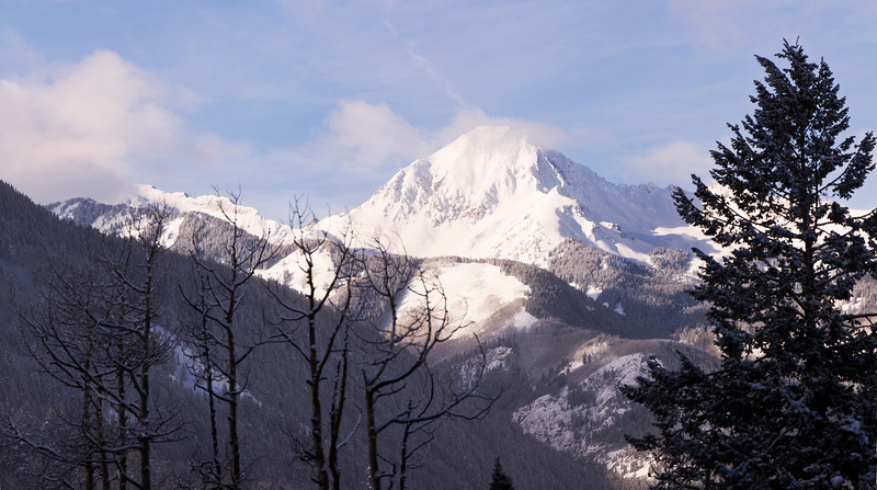A panorama image of a snow-covered Mt. Daly on a sunny winter day with several trees in the foreground.