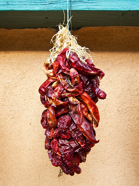 An ornamental bunch of dried red chile peppers is hanging from a wall in Santa Fe, New Mexico.