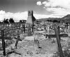 The ruins of the original bell tower from the original San Geronimo church stand over an old cemetery filled with wooden grave markers. The church was destroyed by the US army during a revolt by the natives in 1847.