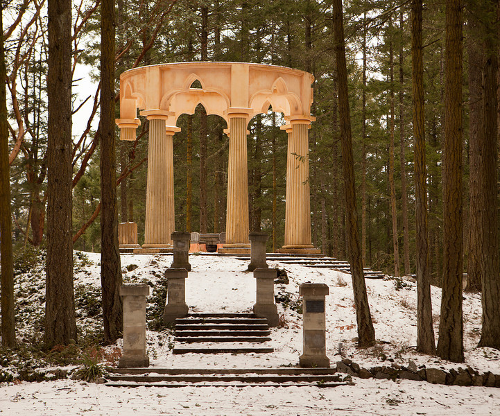 Afterglow Mausoleum, near Roche Harbor on San Juan Island, is a memorial constructed according to Freemason guidelines. Set in a clearing in a forest, the pink marble stands in sharp contrast to the trees.