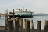 A ferry boat tied up to the dock in Anacortes.