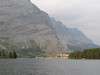 Many Glacier Hotel on the shore of Swiftcurrent Lake.