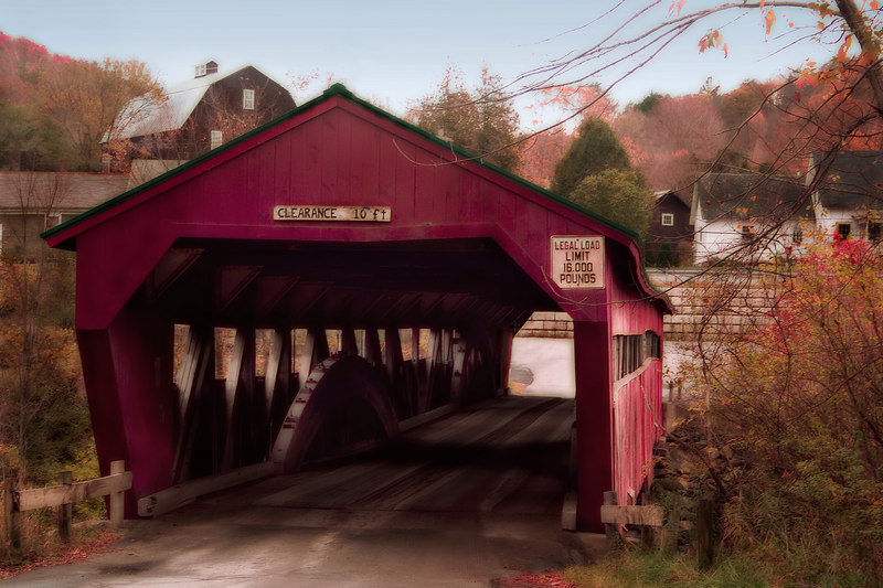 On the way back we pass another small covered bridge. I'm sorry I don't know the name of it, but I wanted to capture the image with the light accenting the construction on the inside.