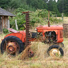 An old red farm tractor in a small country farm that had not been used for a while. While it normally cuts grass, in this case, it was surrounded by tall grass.