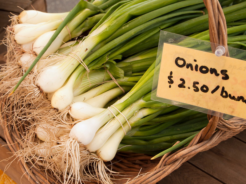 Bunches of organically grown green onions in a basket are for sale at a local farmers market on San Juan Island.