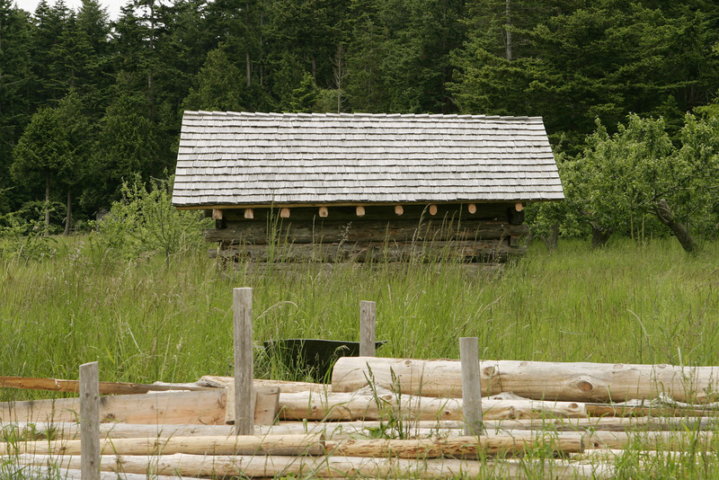 A small beach cabin or shack on a remote island in Washington State that is used for rustic weekend getaways. In the foreground are some logs and driftwood.