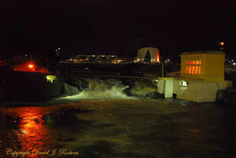 Spokane Falls at night