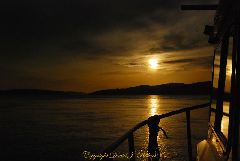 Sunset off the rails of Andiamo, San Juan Islands