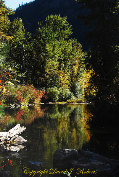 Nason Creek with reflections, east of Stevens Pass on US Highway 2, Washington