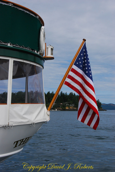Thea Foss stern flag, Roche Harbor, Washington