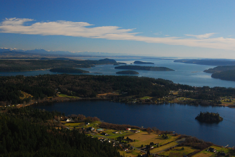 View of Campbell Lake and Similk Bay from Mount Erie, Anacortes, WA