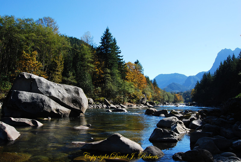 Skykomish River east of Skykomish WA on US Highway 2, Washington