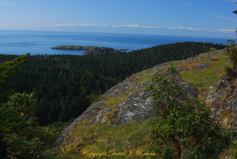 View south to Olympic Mts, Chadwick Hill, Lopez Island