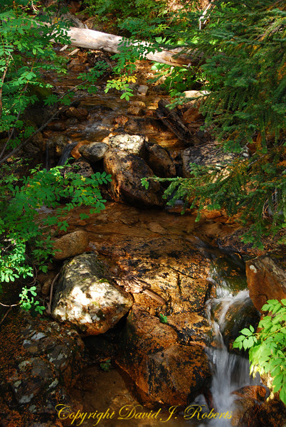 A small colorful stream flows in over the rust colored granite.
