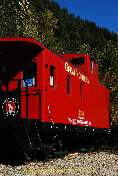 Great Northern Caboose at the Iron Horse Trail near Stevens Pass, Washington