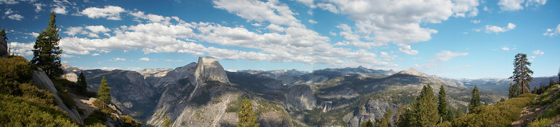 Panormaic view of Half Dome at  Glacier Point