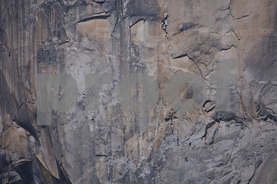 El Capitan- largest granite monolith in the world and a challenge to climbers worldwide.  Note climber and bags of gear towards top of the photo; a partner is below him and to his right.