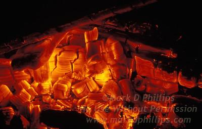 Wood Coals in a fire