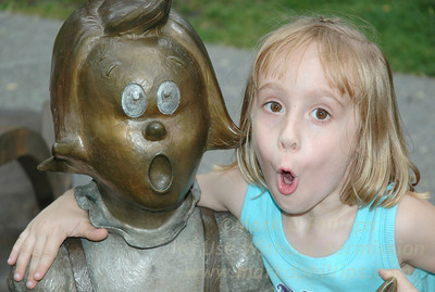 Eliza Phillips and Jackie Bishop at the Dr Seuss Memorial in Springfield, MA,