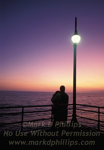 Sunset on the Pacific Ocean at the Santa Monica Pier in California.