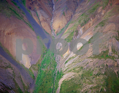 Glaciated valley in Denali National Park as seen from a helicopter in summer
