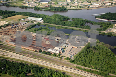 St. Paul, Minnesota and Mississippi River, aerial view.
