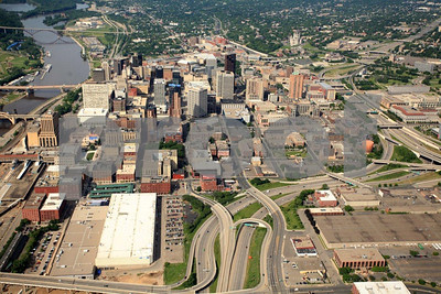 Downtown St. Paul, Minnesota and Mississippi River, aerial view.