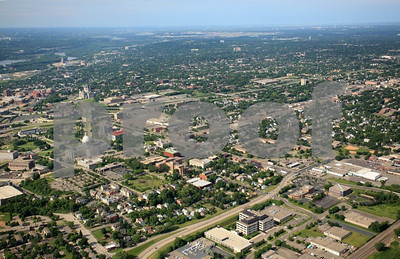 Downtown St. Paul, Minnesota, aerial view.